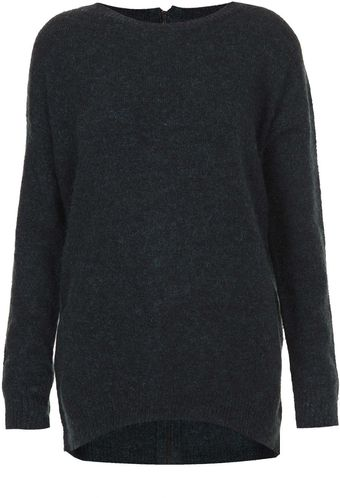 Topshop Knitted Mohair Zip Back Jumper - Lyst