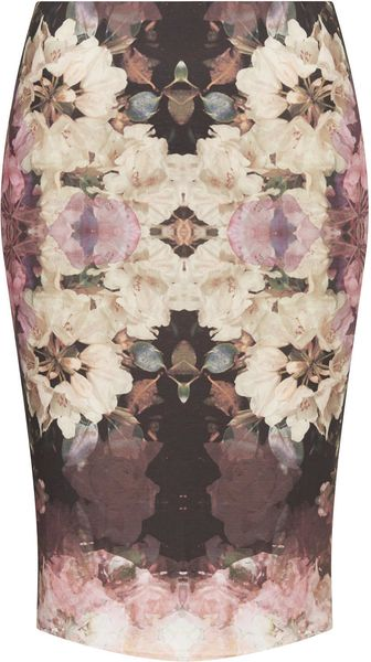 Topshop Petite Mirror Bloom Bodycon Tube Skirt - Lyst