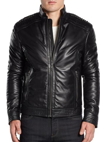 Versace Leather Moto Jacket - Lyst