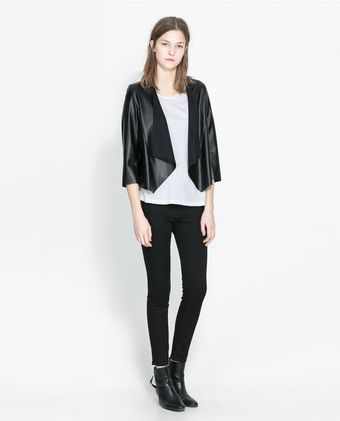Zara Faux Leather Jacket - Lyst
