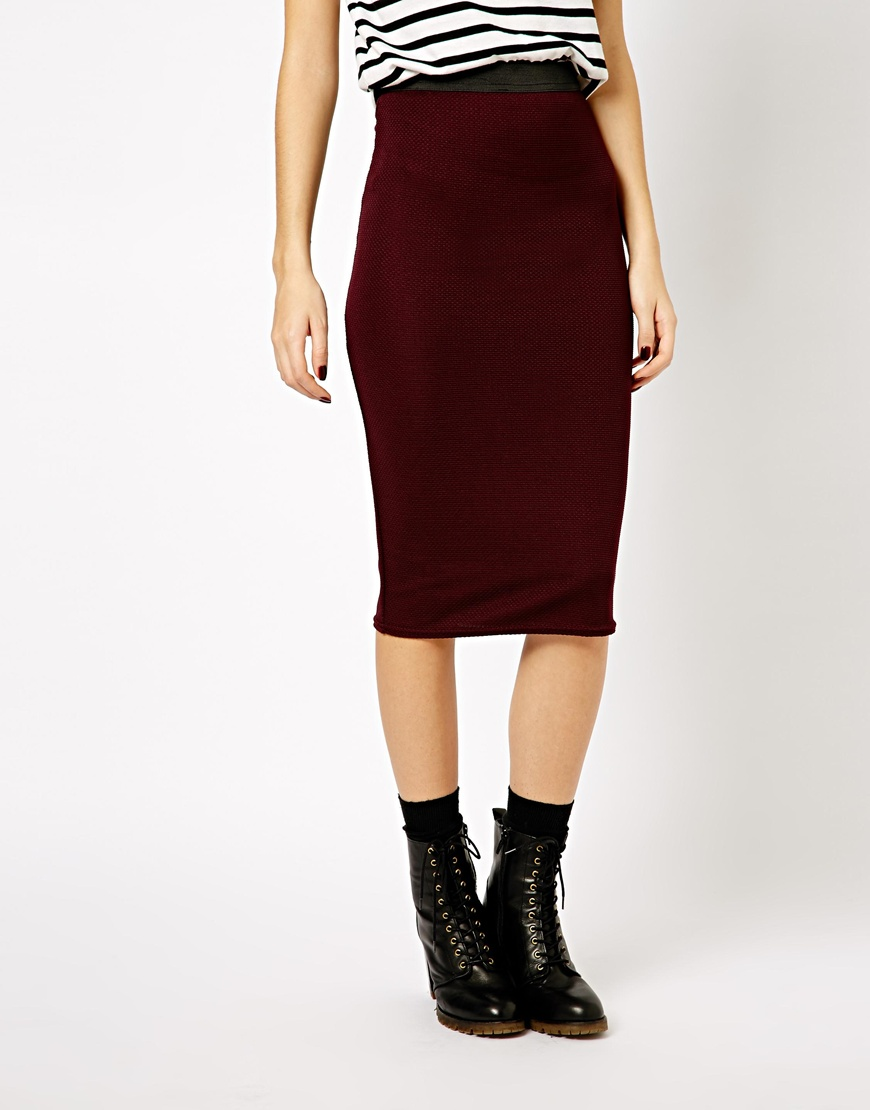 asos new look textured midi pencil skirt in burgundy