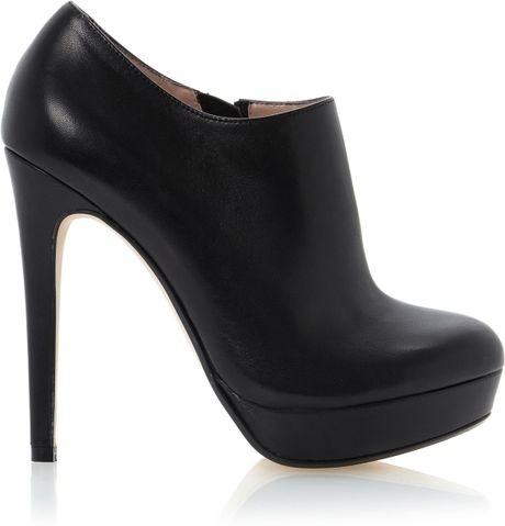 dune bavina tear drop shoe boots in black black leather