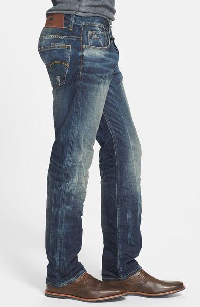 g star raw arizona straight leg jeans in blue for men. Black Bedroom Furniture Sets. Home Design Ideas