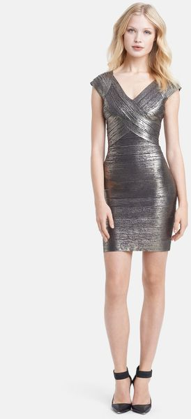 Hervé Léger Cap Sleeve Foiled Bandage Dress - Lyst