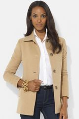 Lauren by Ralph Lauren Single Breasted Wool Blend Barn Jacket - Lyst