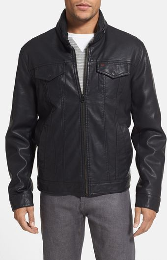 Levi's Faux Leather Military Jacket - Lyst