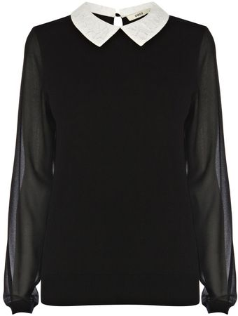 Oasis Lace Collar Jumper - Lyst