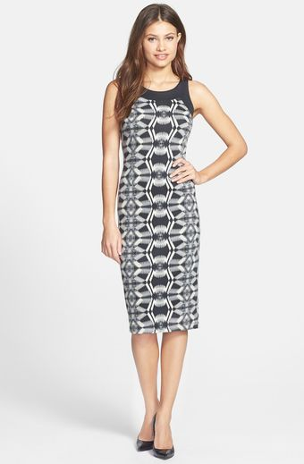 Presley Skye Geo Print Bodycon Midi Dress - Lyst