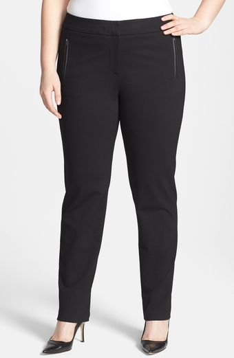 Sejour Faux Leather Trim Ponte Pants - Lyst