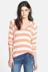Splendid Stripe Hooded Pullover - Lyst
