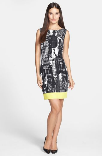 Tahari Contrast Hem Print Twill Sheath Dress - Lyst