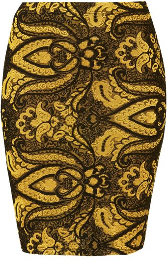 Topshop Tall Gold Paisley Skirt - Lyst