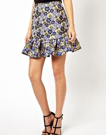 Asos Jacquard Mini Skirt with Peplum Hem - Lyst