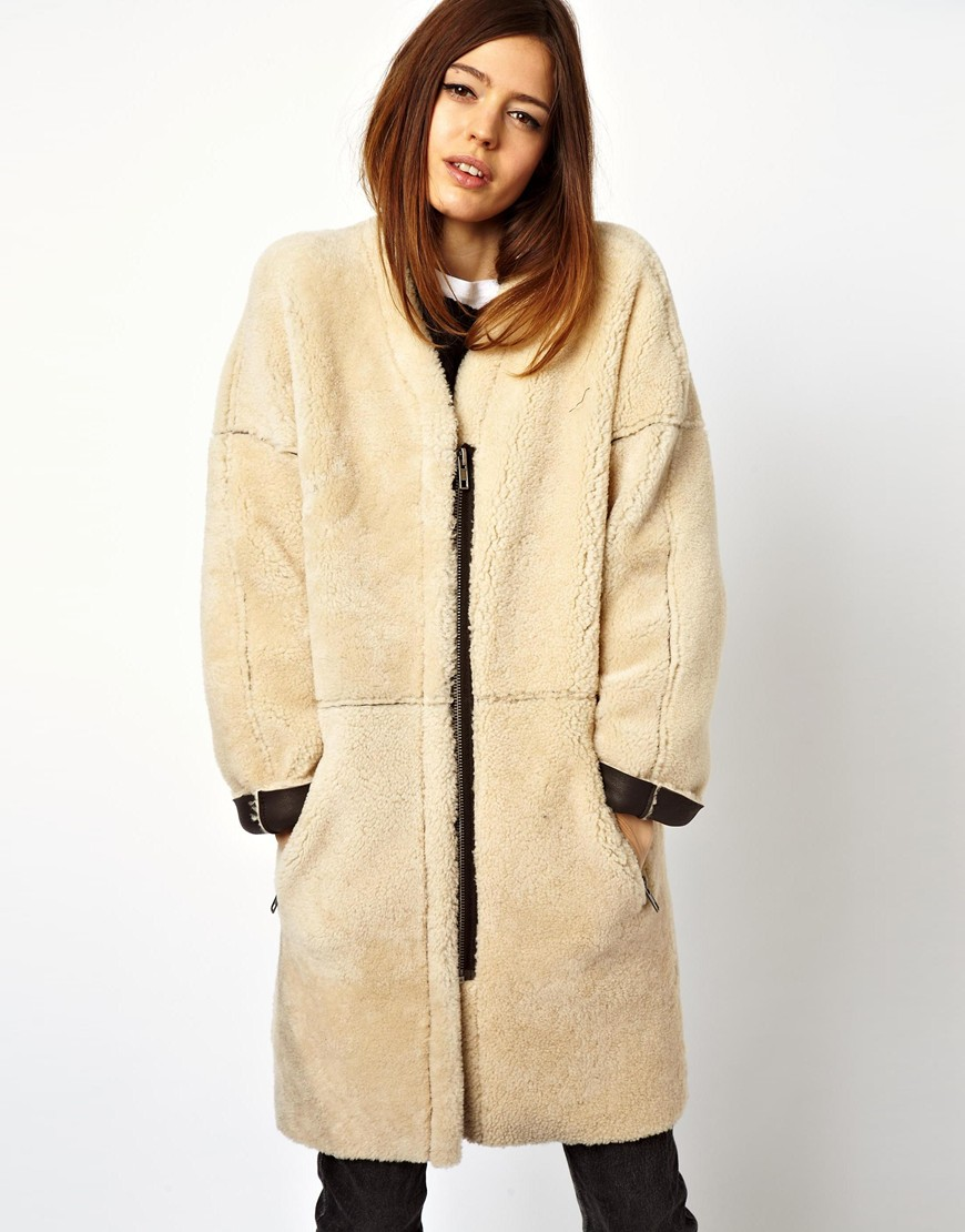 Asos Cocoon Zip Through Shearling Coat in Natural | Lyst