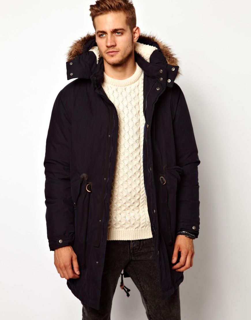 Asos Fishtail Parka with Down in Black for Men | Lyst