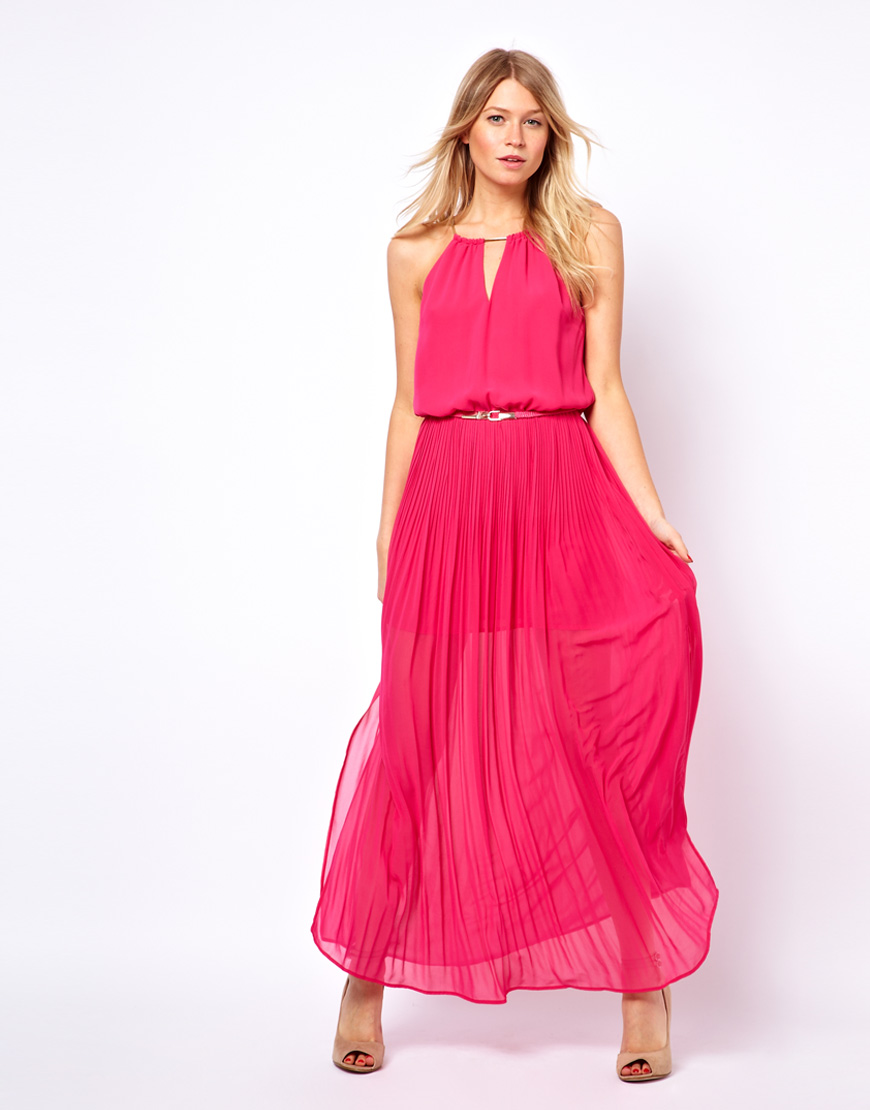 Asos Oasis Pleated Maxi Dress With Belt in Pink  Lyst