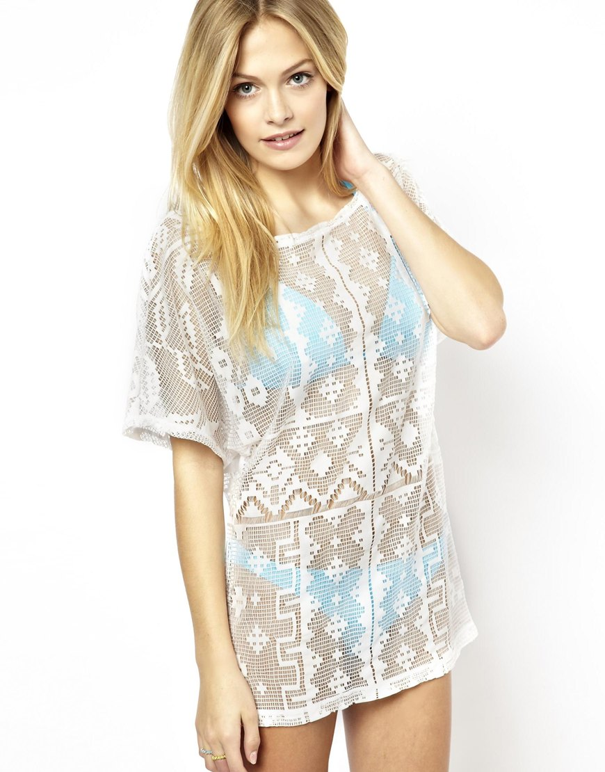 Lyst asos geo lace beach cover up in white for Beach shirt cover up