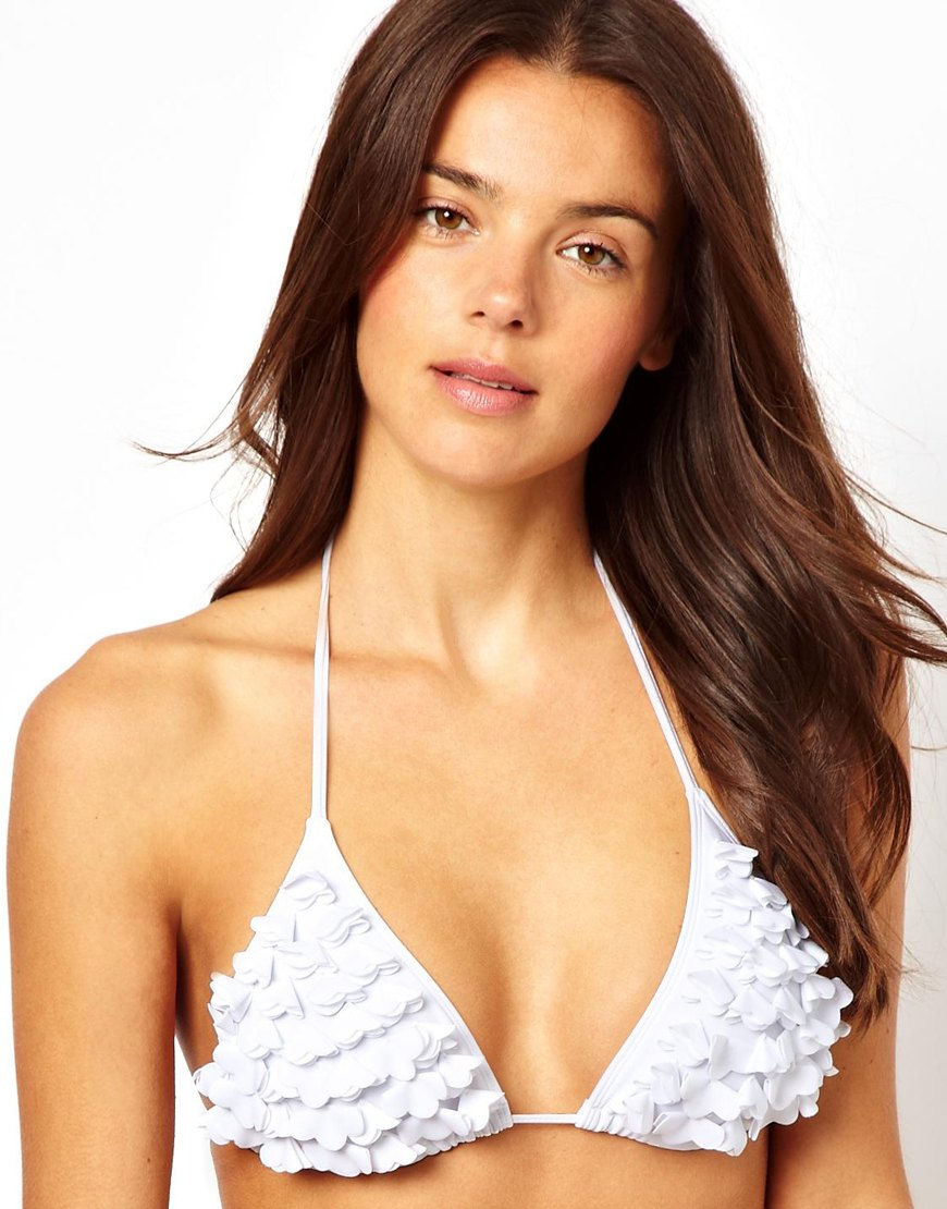 Lyst Asos New Look 3d Flower Triangle Bikini Top In White