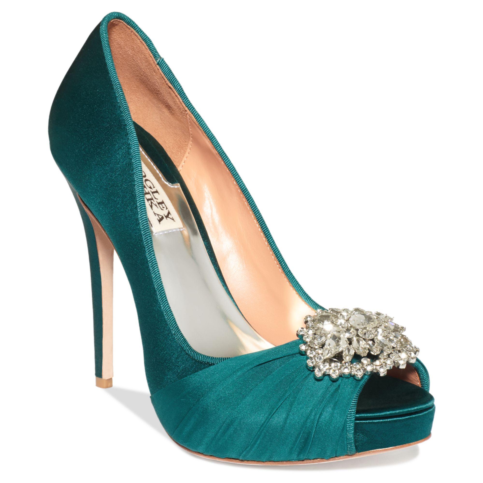 Teal Blue Satin Shoes