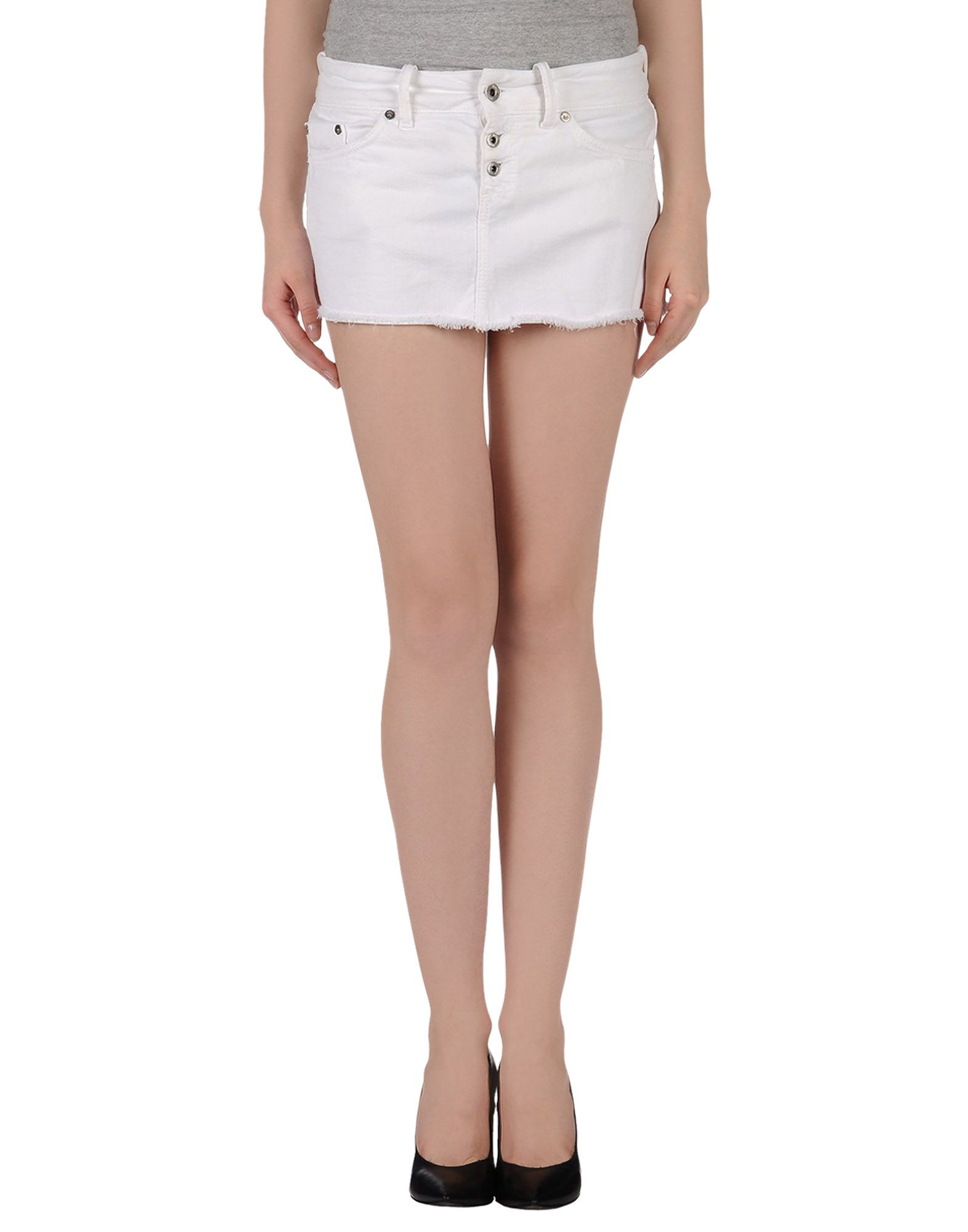 dondup denim skirt in white lyst