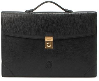 Loewe Preowned Black Leather Top Handle Briefcase - Lyst