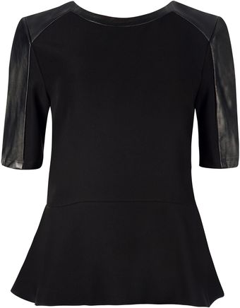 Ted Baker Wilowe Leather Sleeve Peplum Top - Lyst