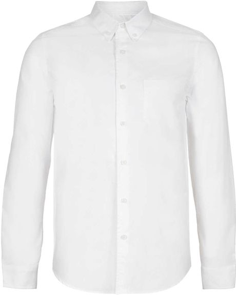 Topman clean white oxford long sleeve shirt in white for for How to clean white dress shirts