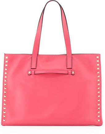 Valentino Rockstud Medium Soft Square Tote Bag Pink - Lyst