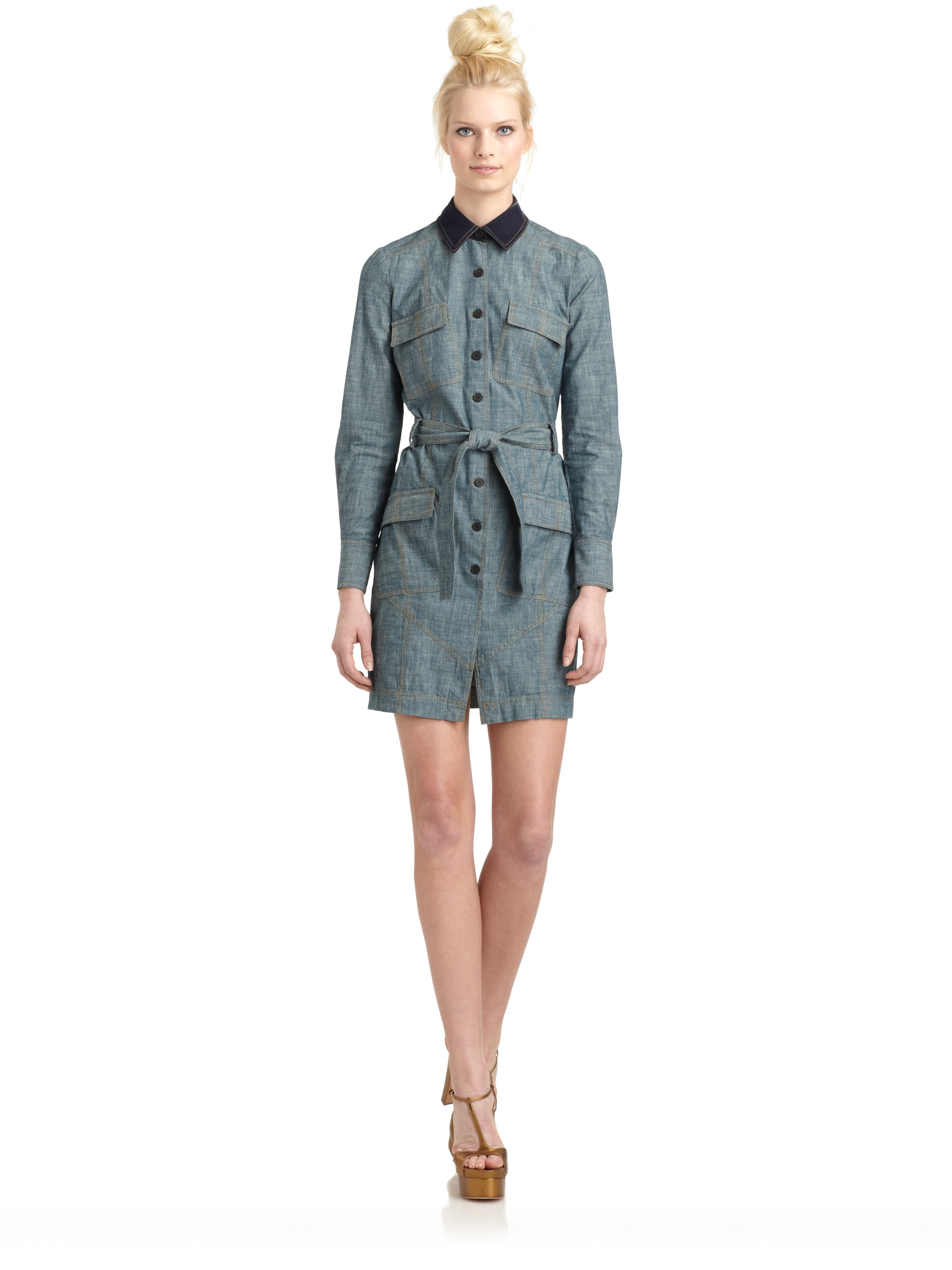 10 crosby derek lam cotton denim shirt dress in blue for Derek lam 10 crosby shirt dress