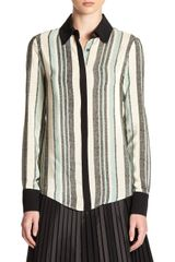10 Crosby by Derek Lam Striped Silk Button-front Blouse - Lyst