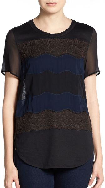 3.1 Phillip Lim Pieced Lace Knit Tee - Lyst