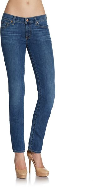 7 For All Mankind Roxanne Faded Contraststitched Skinny Jeans - Lyst