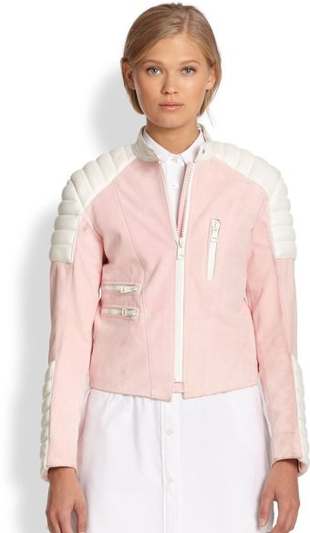 Acne Minda Colorblock Leather Jacket - Lyst