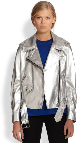 Acne Mape Metallic Leather Biker Jacket - Lyst