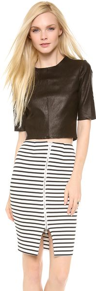 A.L.C. Cannon Cropped Leather Top - Lyst