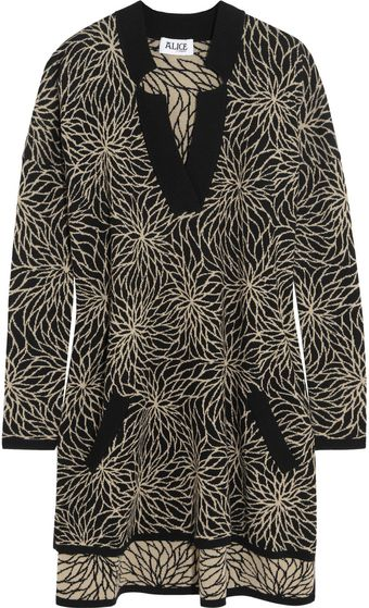 Alice By Temperley Floral Intarsia Cotton Mini Dress - Lyst