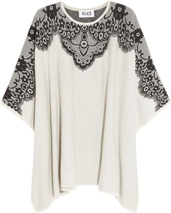 Alice By Temperley Wisp Lace-intarsia Cotton Poncho - Lyst