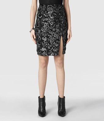 AllSaints Rattle Split Skirt - Lyst