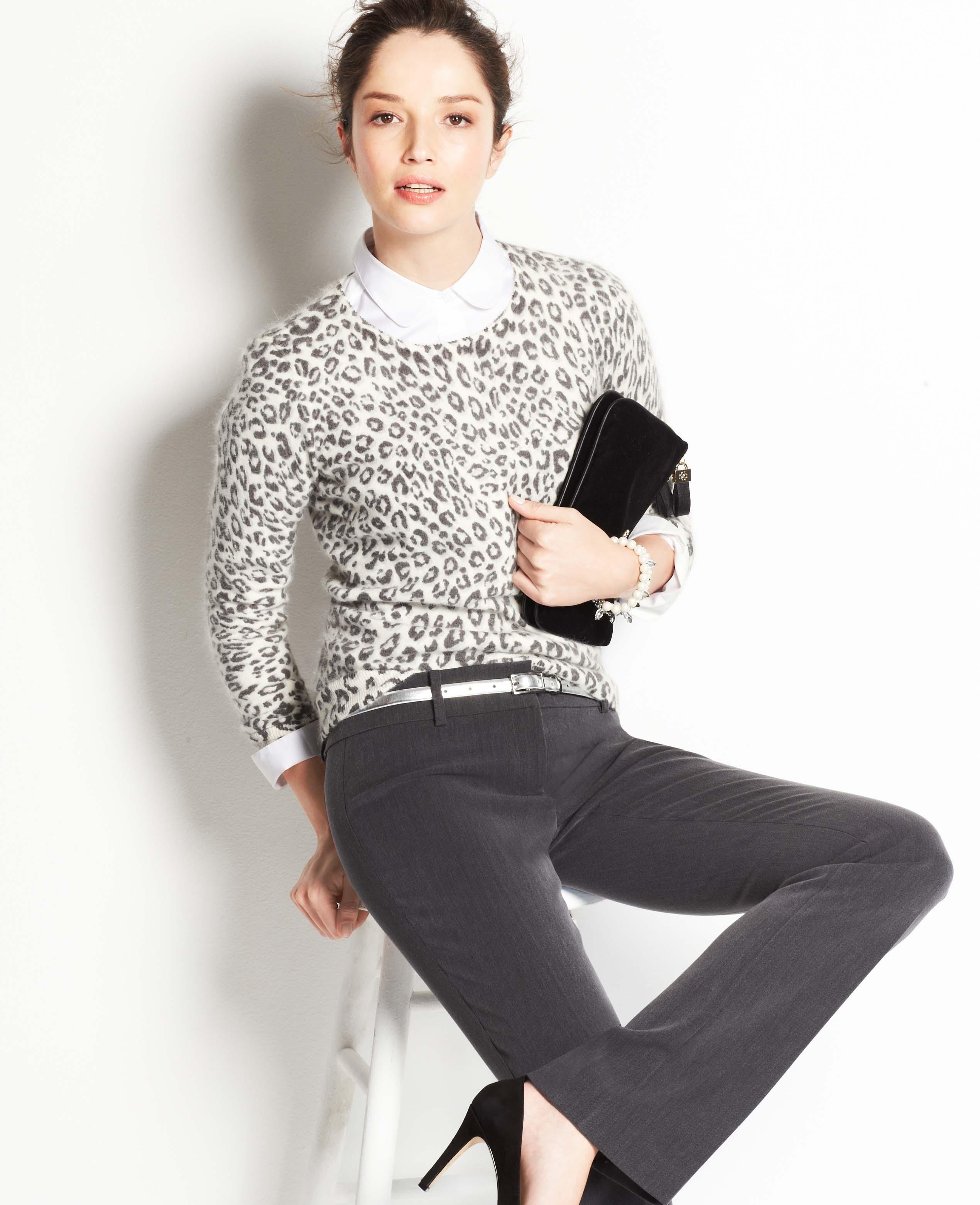 8f10a838a770 Ann Taylor Snow Leopard Sweater in Black - Lyst