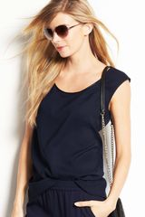 Ann Taylor Faux Leather Trim Cap Sleeve Top - Lyst