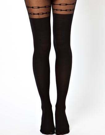 Asos Chain Over The Knee Tights - Lyst