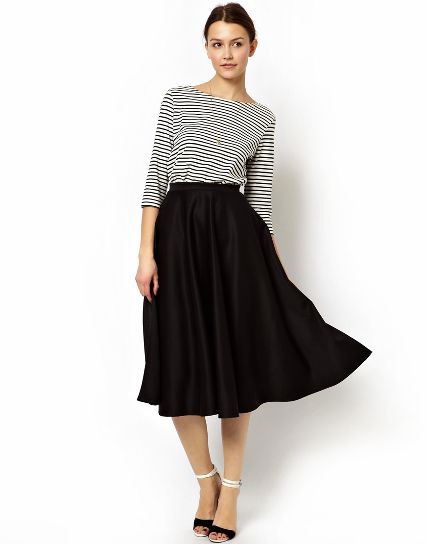 asos midi skirt in scuba in black lyst
