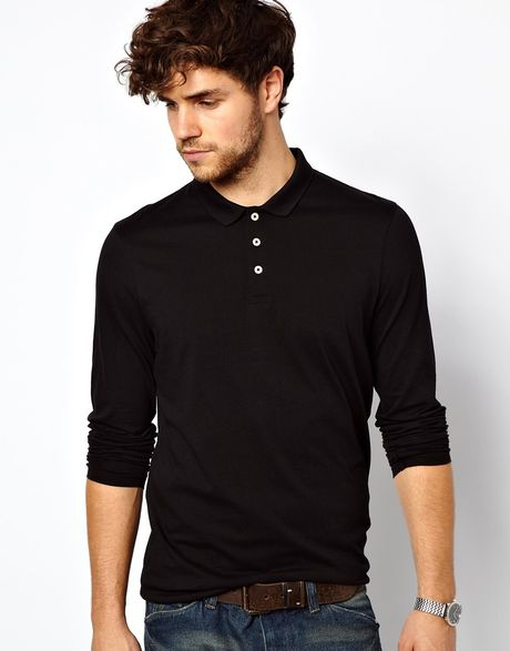 Asos Long Sleeve Polo Shirt In Jersey In Black For Men Lyst