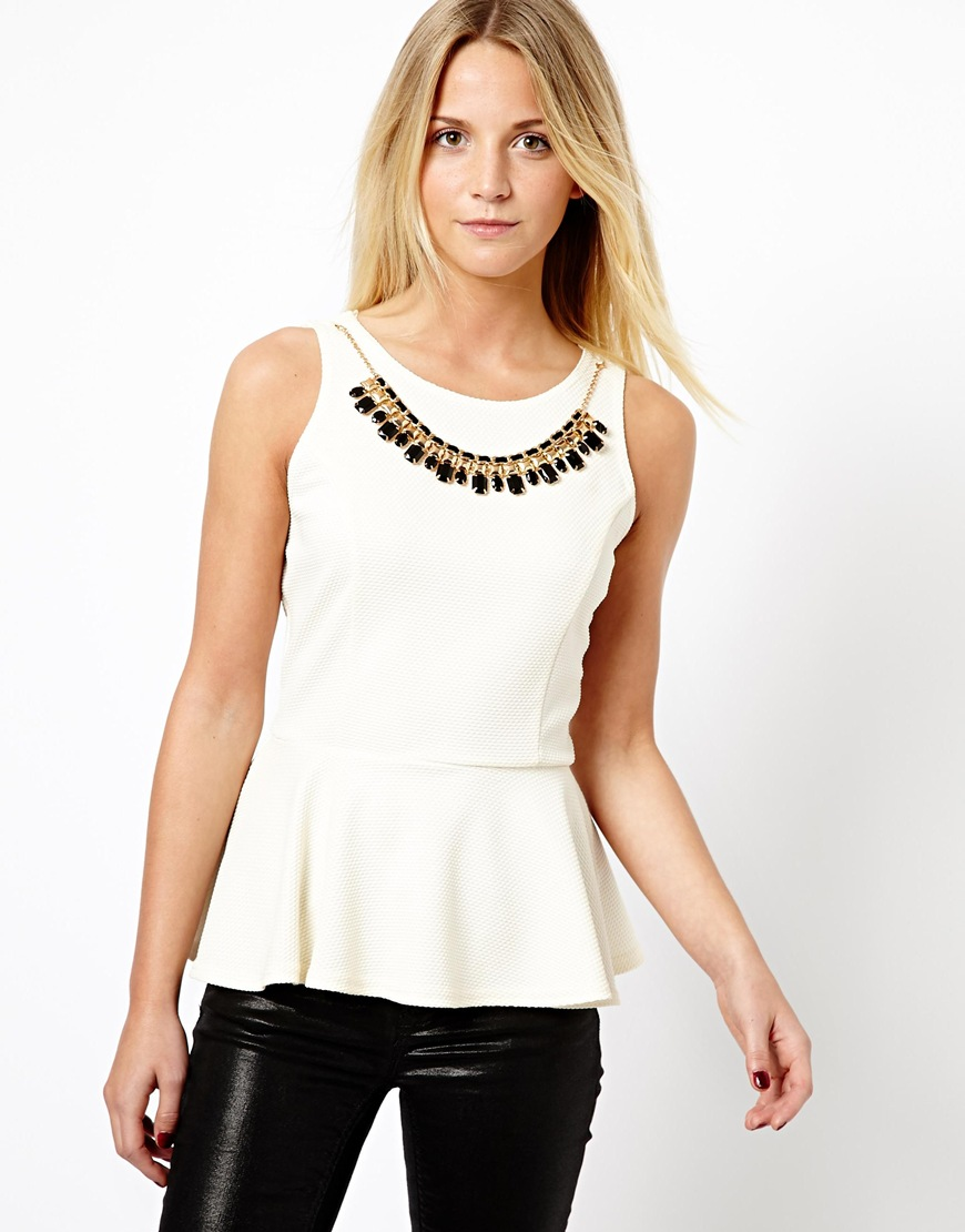 New Best Nails Nwa Mall Fayetteville Home: Asos New Look Peplum Top With Gold Necklace In Natural