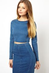 Asos Long Sleeve Denim Crop Top - Lyst