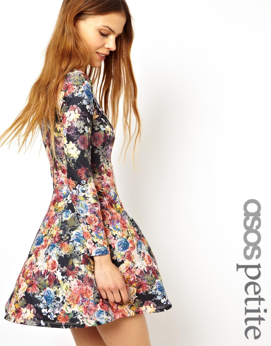 f16a245aac Lyst - ASOS Exclusive Skater Dress in Floral with Button Down Front