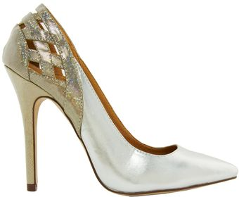 Asos New Look Web Silver Heeled Shoes - Lyst