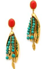 Aurelie Bidermann Clip On Earrings with Turqouise Stones - Lyst