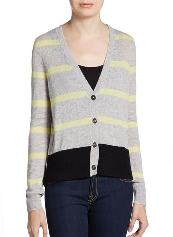 Autumn Cashmere Striped Cashmere Cardigan - Lyst