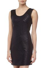 Bagatelle Leather striped Ponte Sheath Dress - Lyst
